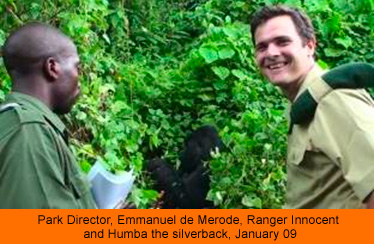 Park Director, Emmanuel de Merode, Ranger Innocent and Humba the silverback, January 09