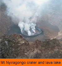 Mt Nyiragongo crater and lava lake